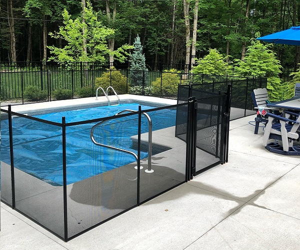 black mesh pool fence installed by Life Saver Pool Fence of Upstate NY