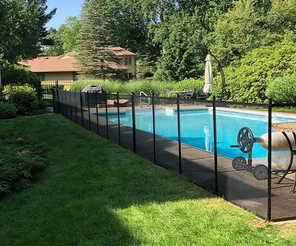 black pool fence installed for pool safety