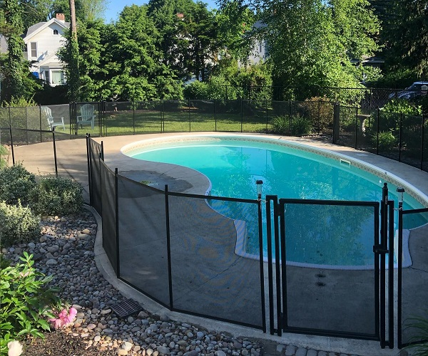 installed black Life Saver Pool Fence